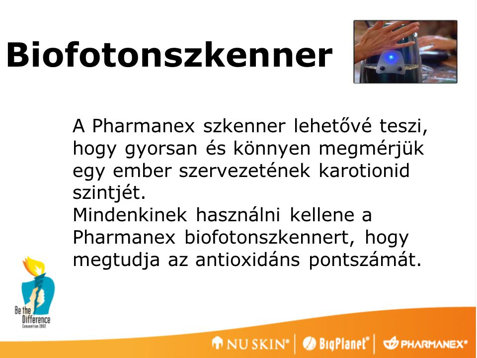 Biofotonszkenner A Pharmanex szkenner lehetővé teszi, hogy gyorsan és könnyen megmérjük egy ember szervezetének karotionid szintjét.