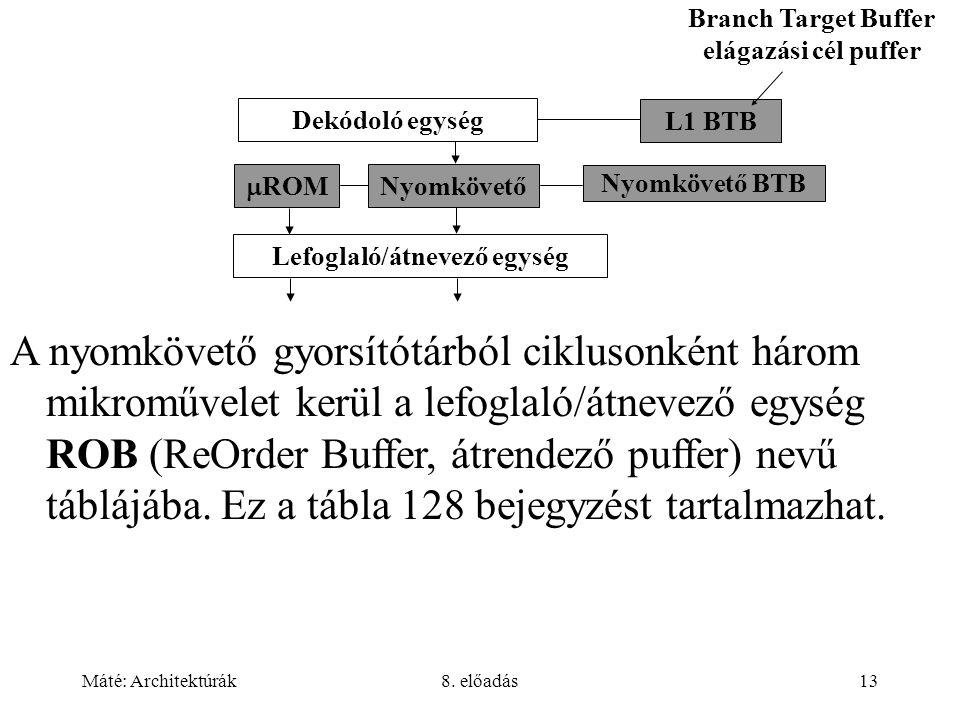 Branch Target Buffer elágazási cél puffer Lefoglaló/átnevező egység