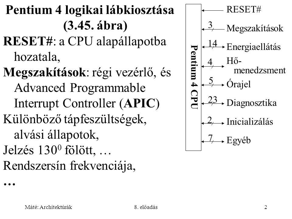 Pentium 4 logikai lábkiosztása (3.45. ábra)