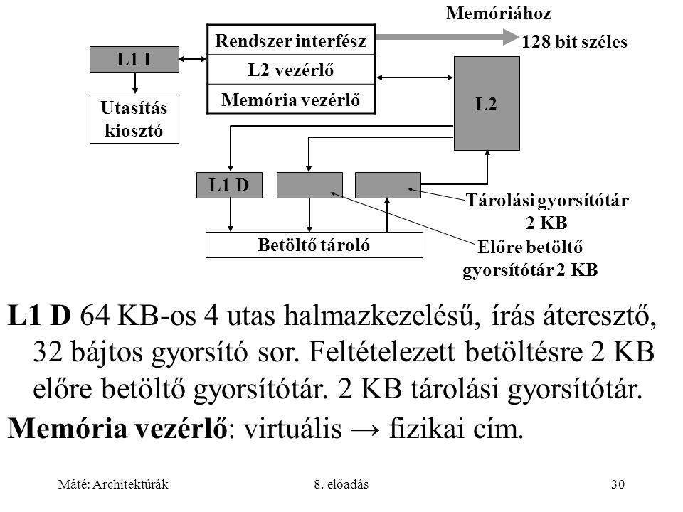 Tárolási gyorsítótár 2 KB Előre betöltő gyorsítótár 2 KB