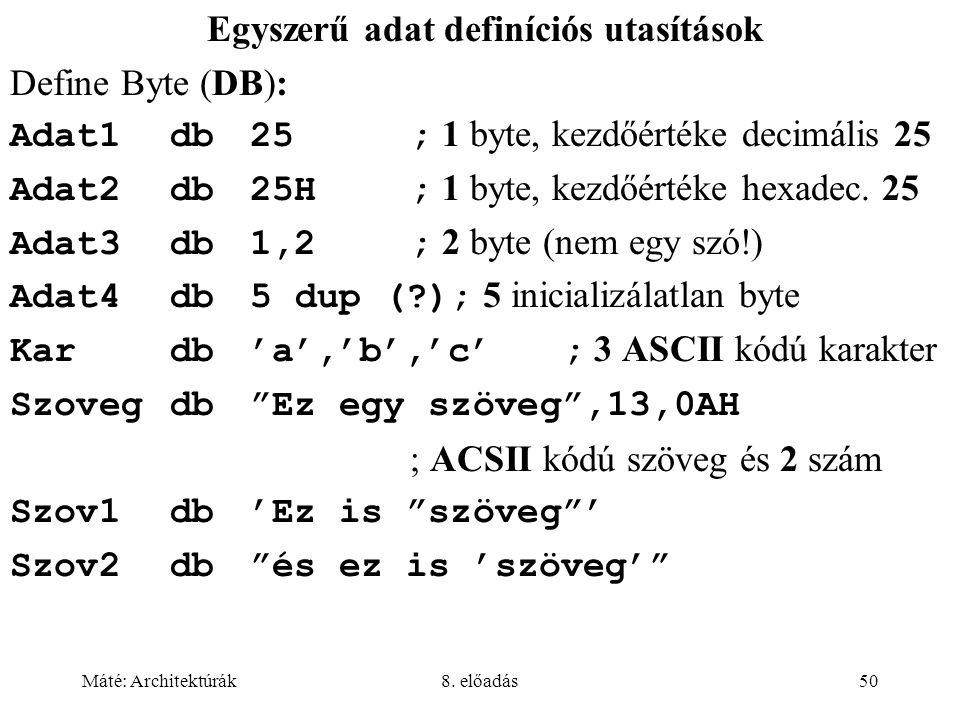 Egyszerű adat definíciós utasítások