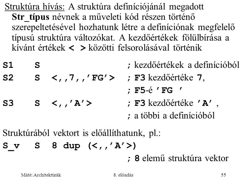 S1 S ; kezdőértékek a definícióból