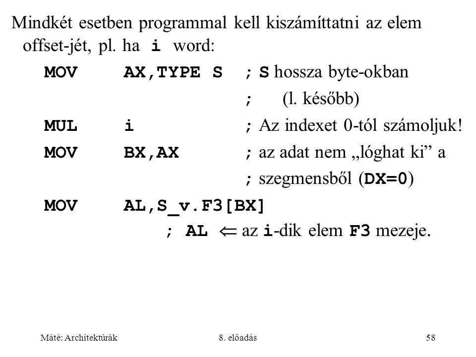 Mindkét esetben programmal kell kiszámíttatni az elem offset-jét, pl