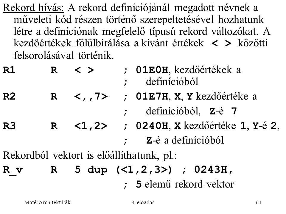 R1 R < > ; 01E0H, kezdőértékek a ; definícióból