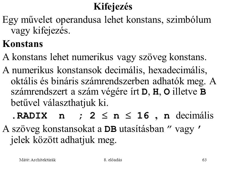 Egy művelet operandusa lehet konstans, szimbólum vagy kifejezés.