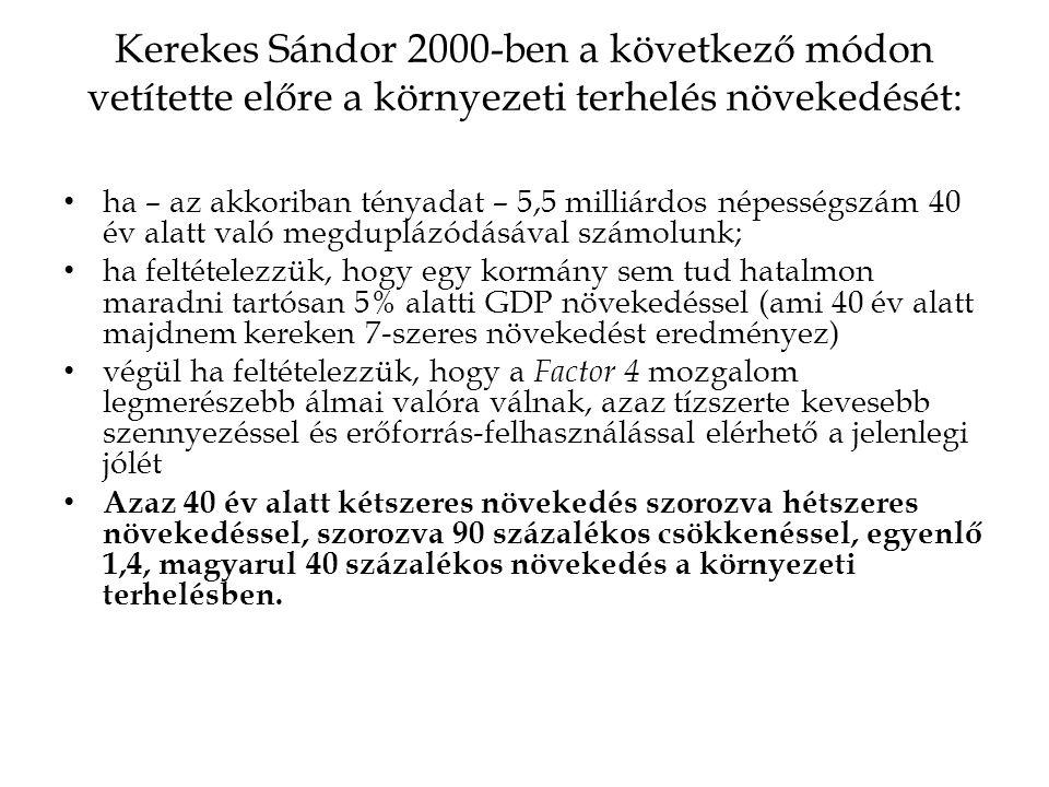 Kerekes Sándor 2000-ben a következő módon vetítette előre a környezeti terhelés növekedését: