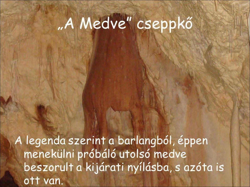 """""""A Medve cseppkő A legenda szerint a barlangból, éppen menekülni próbáló utolsó medve beszorult a kijárati nyílásba, s azóta is ott van."""