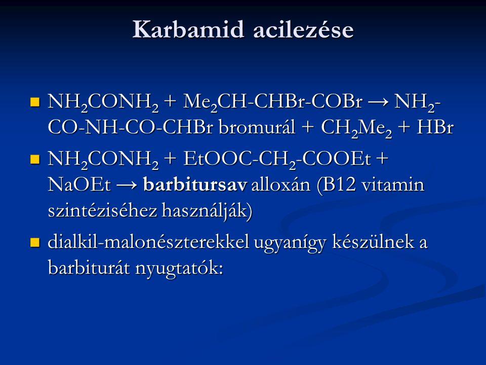 Karbamid acilezése NH2CONH2 + Me2CH-CHBr-COBr → NH2-CO-NH-CO-CHBr bromurál + CH2Me2 + HBr.