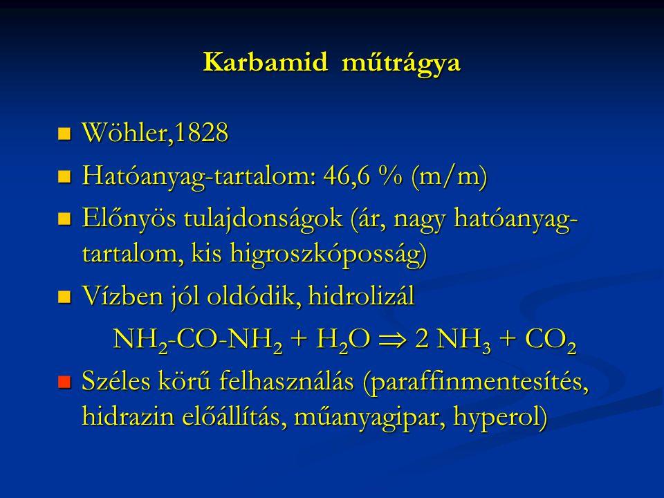 Karbamid műtrágya Wöhler,1828. Hatóanyag-tartalom: 46,6 % (m/m) Előnyös tulajdonságok (ár, nagy hatóanyag-tartalom, kis higroszkóposság)