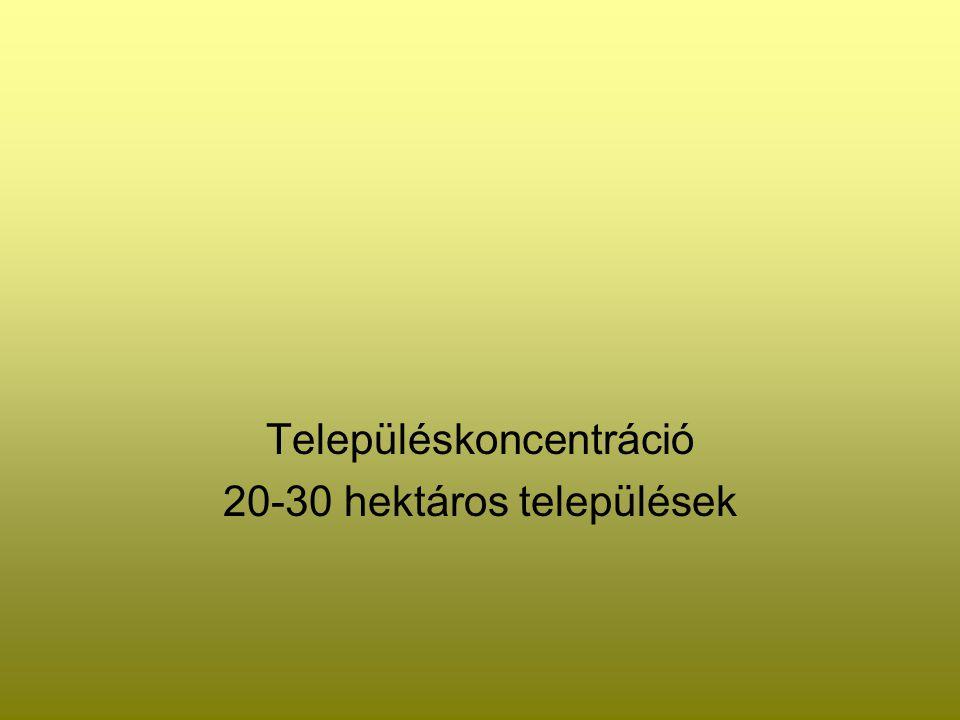 Településkoncentráció 20-30 hektáros települések