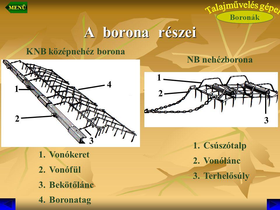 A borona részei KNB középnehéz borona NB nehézborona 1 4 1 2 2 3 3