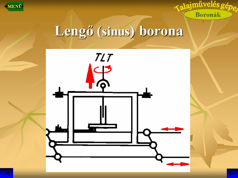 MENÜ Boronák Talajművelés gépei Lengő (sinus) borona