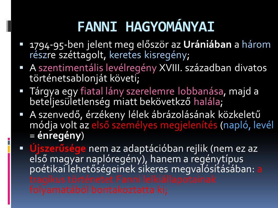 FANNI HAGYOMÁNYAI 1794-95-ben jelent meg először az Urániában a három részre széttagolt, keretes kisregény;