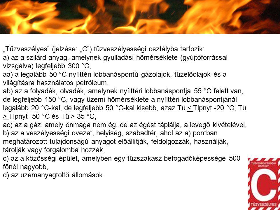 """""""Tűzveszélyes (jelzése: """"C ) tűzveszélyességi osztályba tartozik:"""