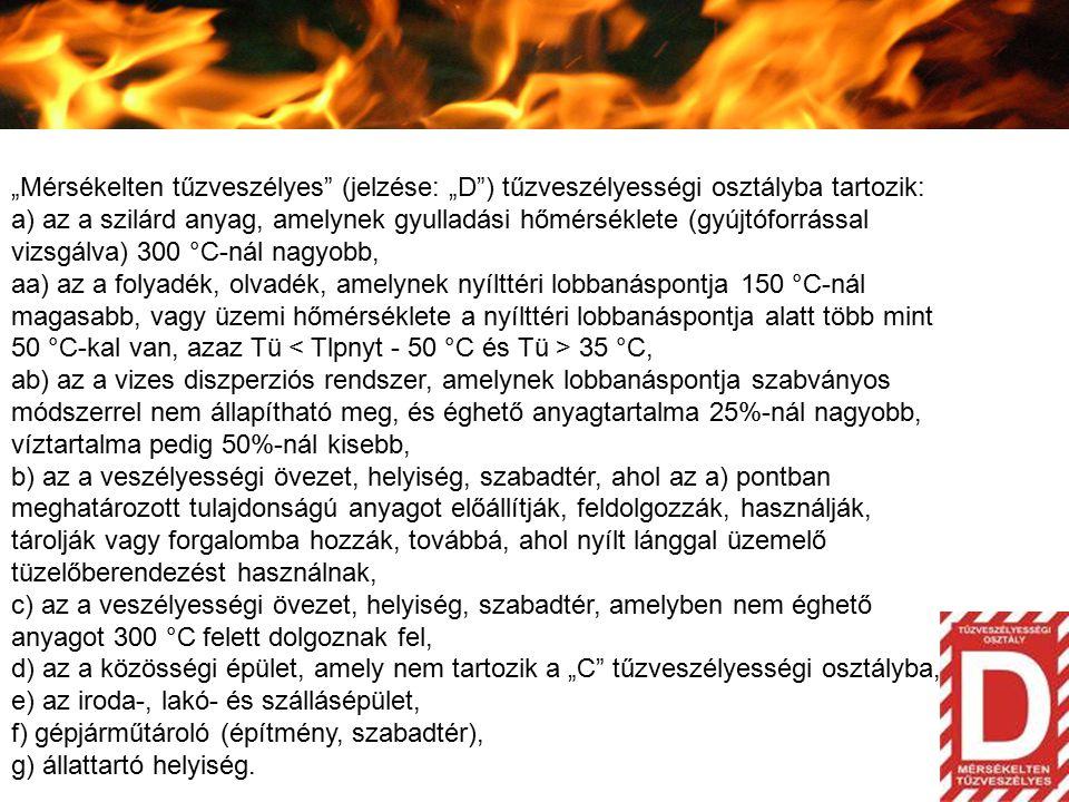 """""""Mérsékelten tűzveszélyes (jelzése: """"D ) tűzveszélyességi osztályba tartozik:"""