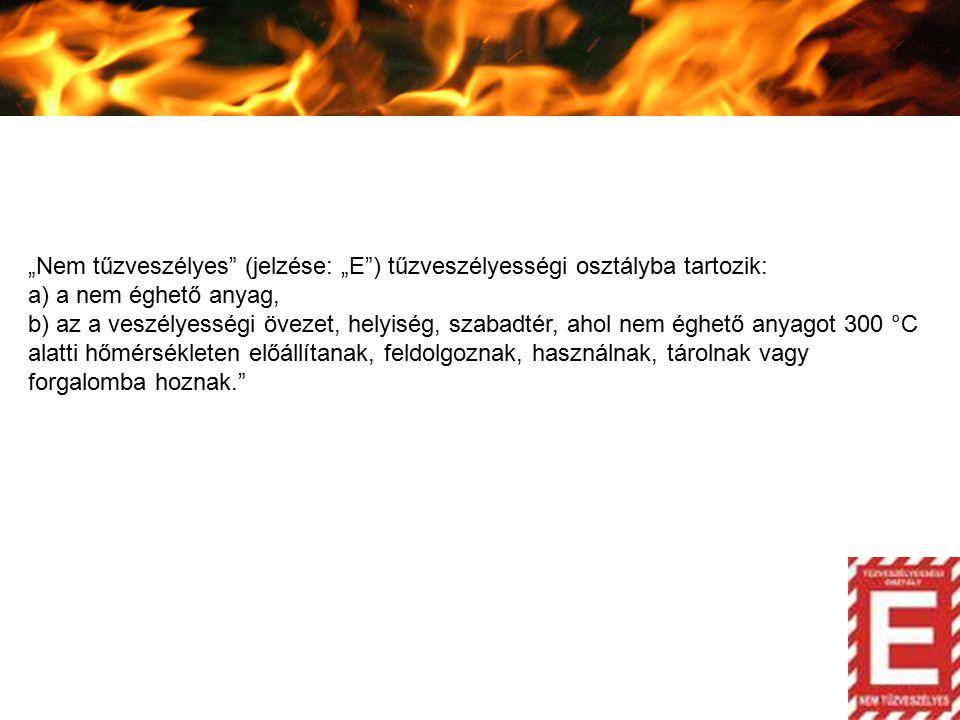 """""""Nem tűzveszélyes (jelzése: """"E ) tűzveszélyességi osztályba tartozik:"""