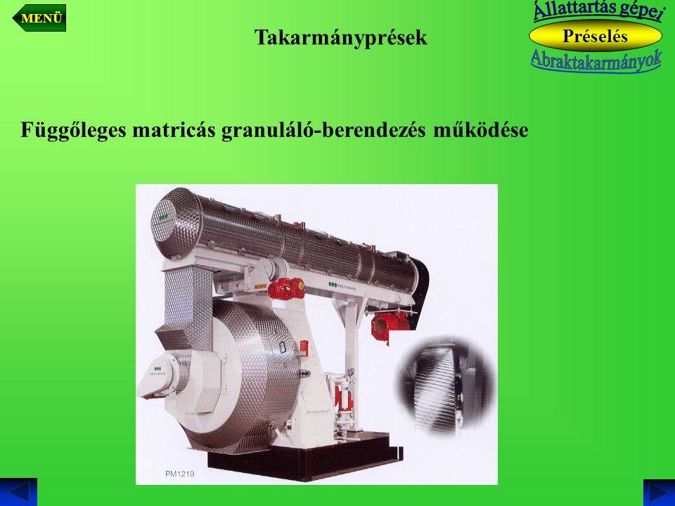 Függőleges matricás granuláló-berendezés működése
