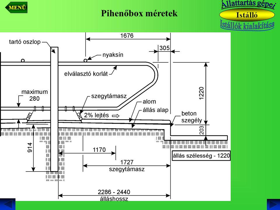 MENÜ Állattartás gépei Pihenőbox méretek Istálló Istállók kialakítása