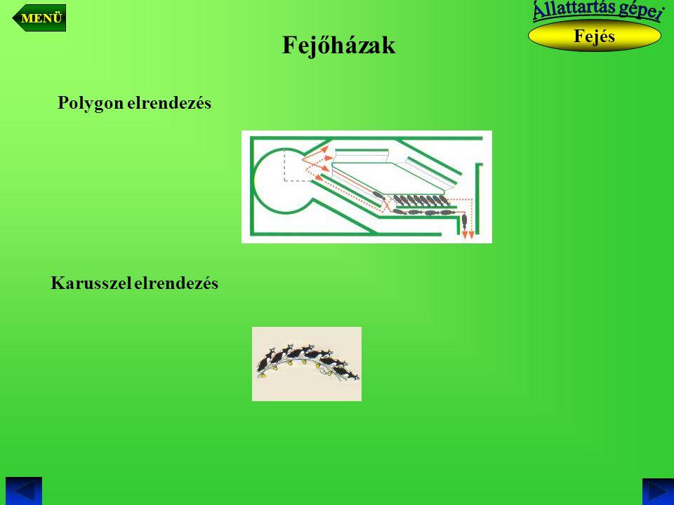Fejőházak Fejés Polygon elrendezés Karusszel elrendezés