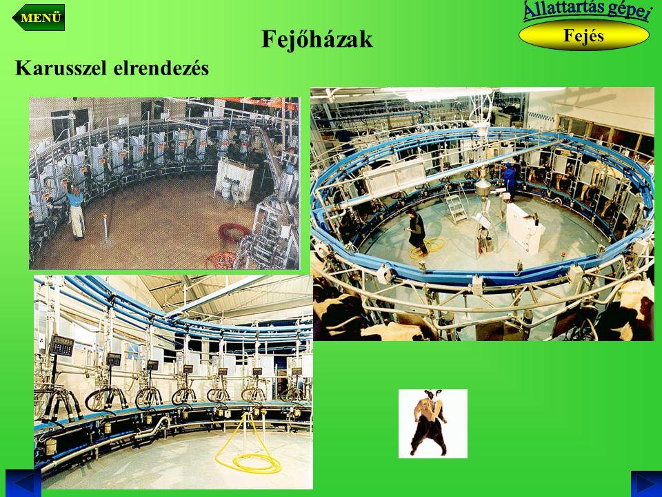 MENÜ Állattartás gépei Fejőházak Fejés Karusszel elrendezés