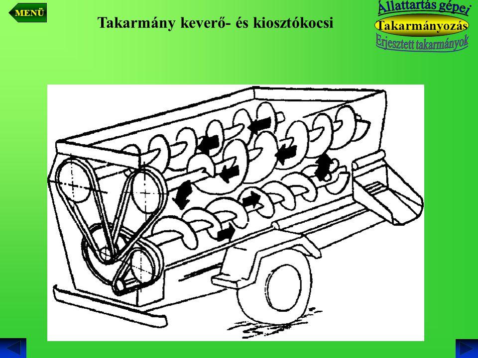 Takarmány keverő- és kiosztókocsi