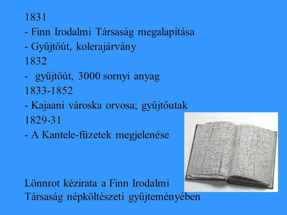 1831 - Finn Irodalmi Társaság megalapítása. - Gyűjtőút, kolerajárvány. 1832. gyűjtőút, 3000 sornyi anyag.
