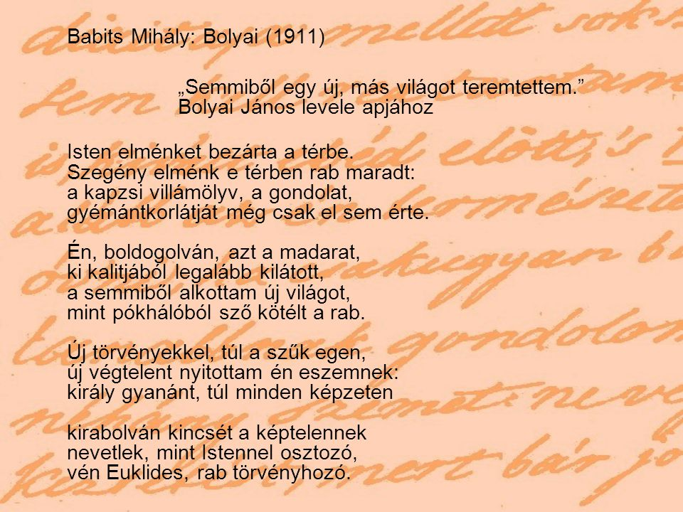 Babits Mihály: Bolyai (1911)