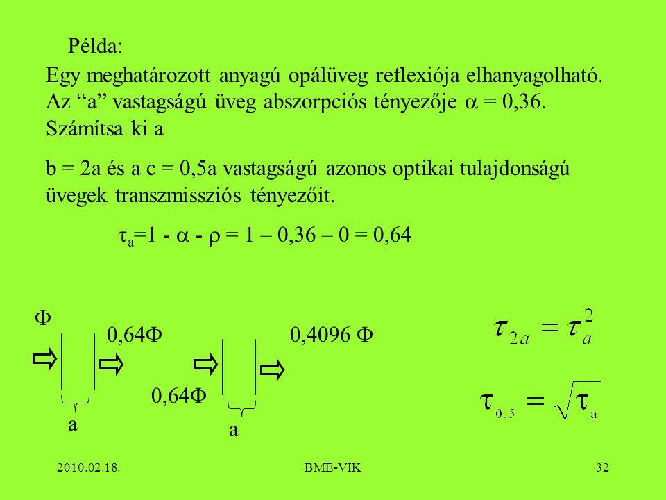 Példa: Egy meghatározott anyagú opálüveg reflexiója elhanyagolható. Az a vastagságú üveg abszorpciós tényezője  = 0,36. Számítsa ki a.