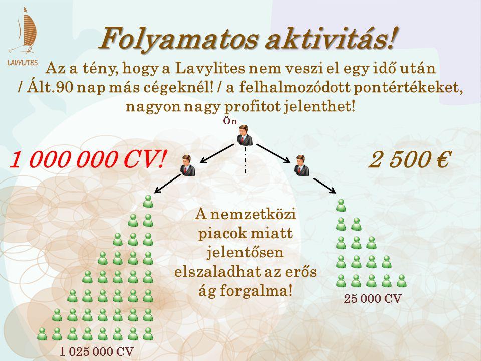 Folyamatos aktivitás! 1 000 000 CV! 2 500 €