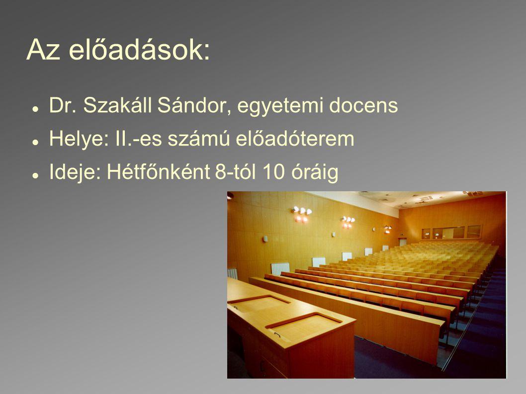 Az előadások: Dr. Szakáll Sándor, egyetemi docens