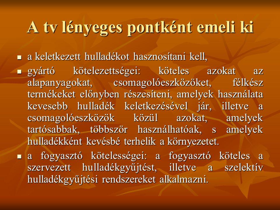 A tv lényeges pontként emeli ki