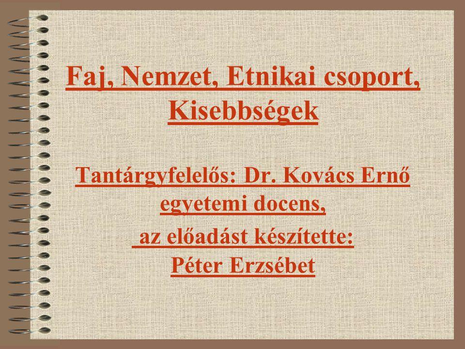 Faj, Nemzet, Etnikai csoport, Kisebbségek Tantárgyfelelős: Dr