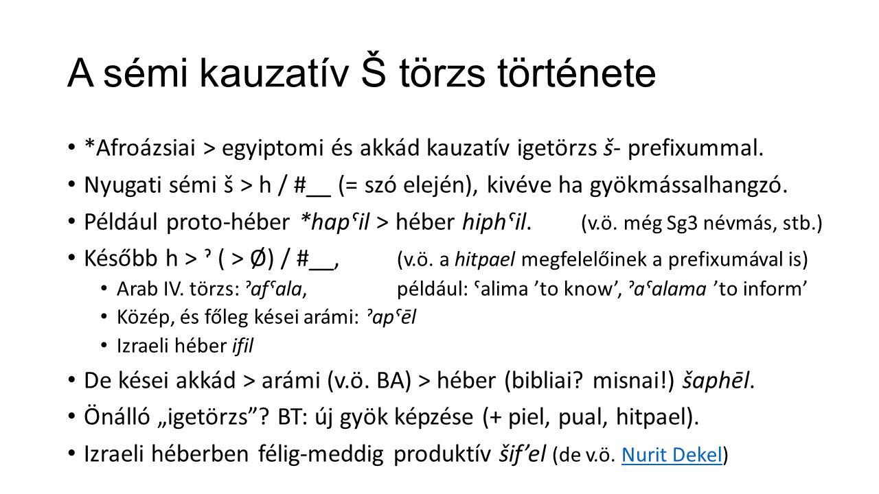 A sémi kauzatív Š törzs története