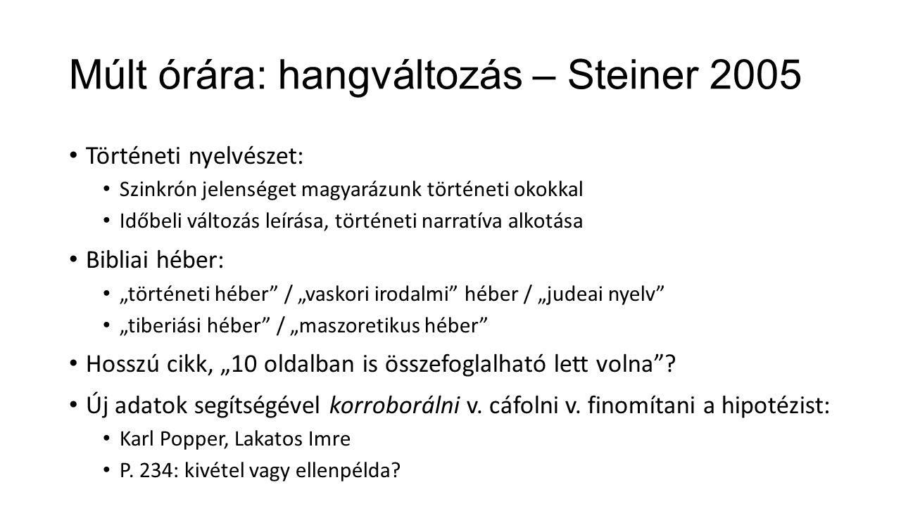 Múlt órára: hangváltozás – Steiner 2005
