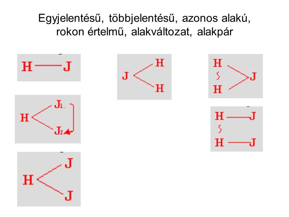 Egyjelentésű, többjelentésű, azonos alakú, rokon értelmű, alakváltozat, alakpár