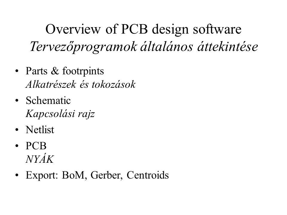 Overview of PCB design software Tervezőprogramok általános áttekintése
