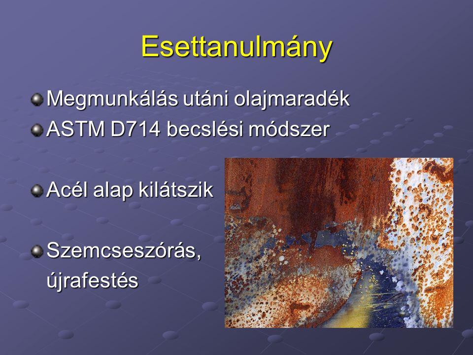 Esettanulmány Megmunkálás utáni olajmaradék ASTM D714 becslési módszer