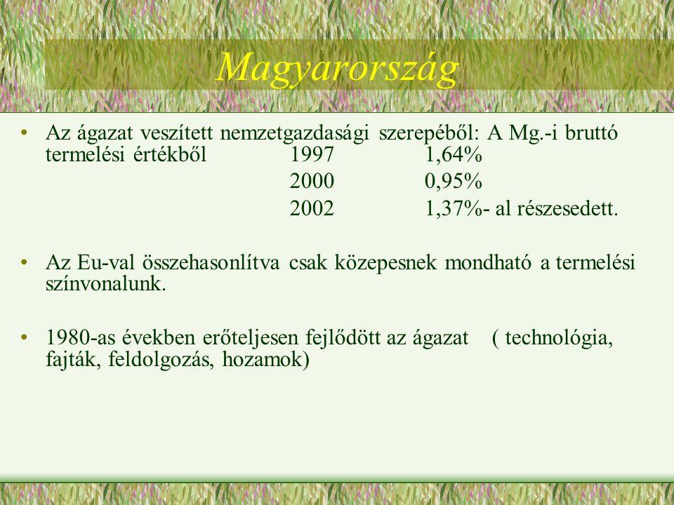Magyarország Az ágazat veszített nemzetgazdasági szerepéből: A Mg.-i bruttó termelési értékből 1997 1,64%