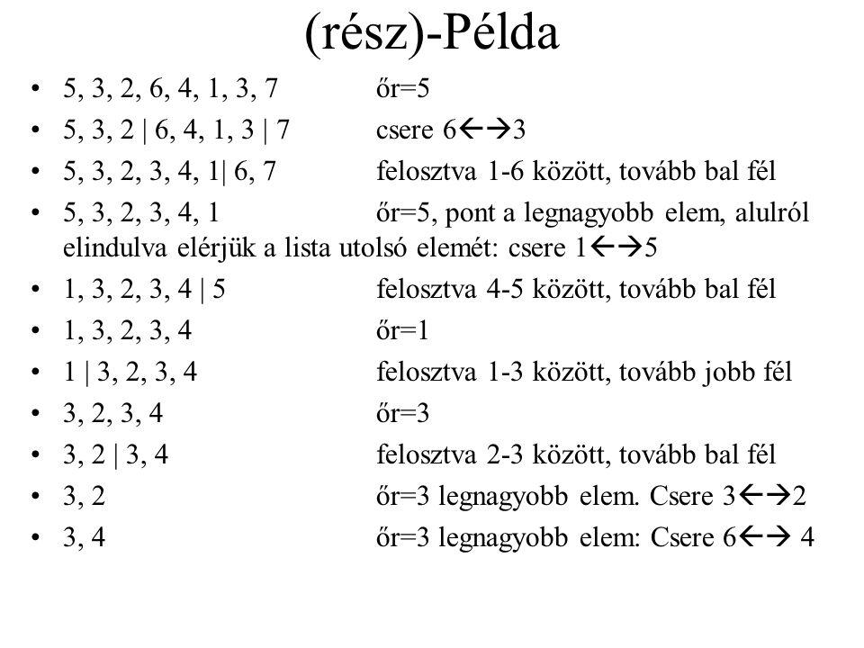 (rész)-Példa 5, 3, 2, 6, 4, 1, 3, 7 őr=5. 5, 3, 2 | 6, 4, 1, 3 | 7 csere 63. 5, 3, 2, 3, 4, 1| 6, 7 felosztva 1-6 között, tovább bal fél.