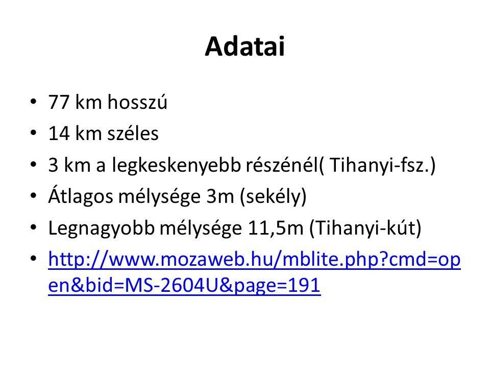 Adatai 77 km hosszú 14 km széles