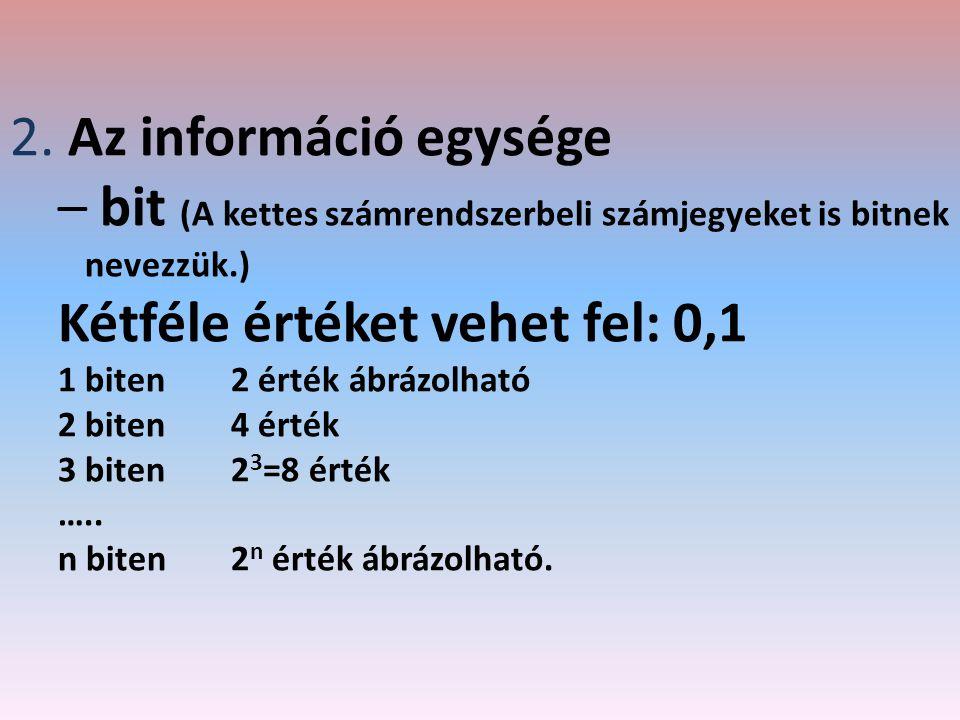 bit (A kettes számrendszerbeli számjegyeket is bitnek nevezzük.)
