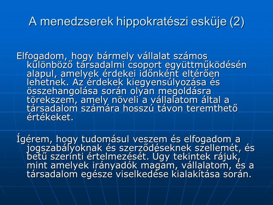 A menedzserek hippokratészi esküje (2)