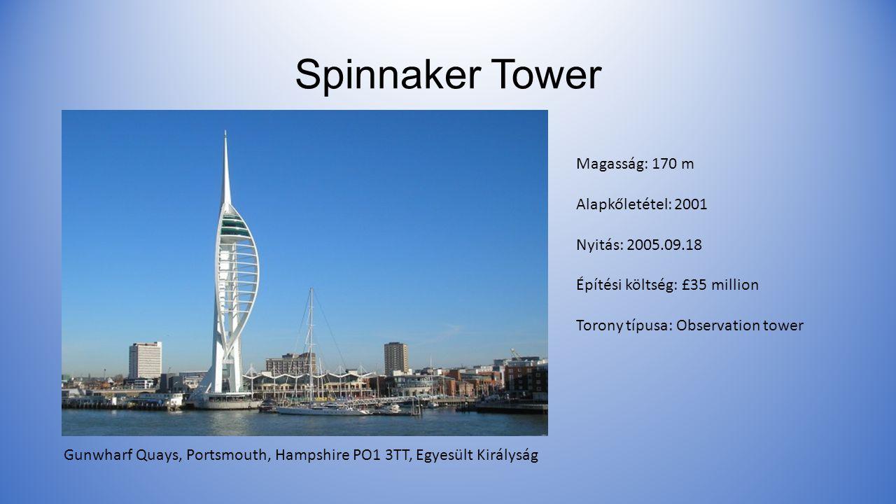 Spinnaker Tower Magasság: 170 m Alapkőletétel: 2001 Nyitás: 2005.09.18