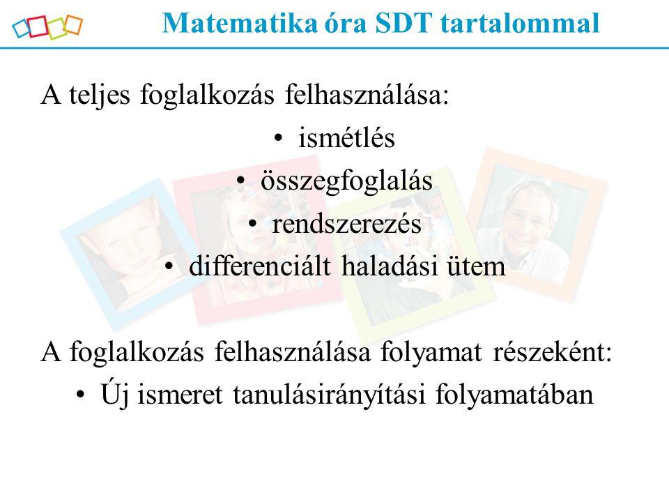 Matematika óra SDT tartalommal