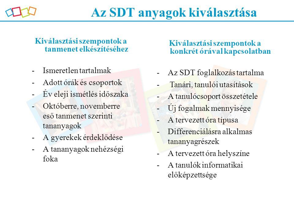 Az SDT anyagok kiválasztása