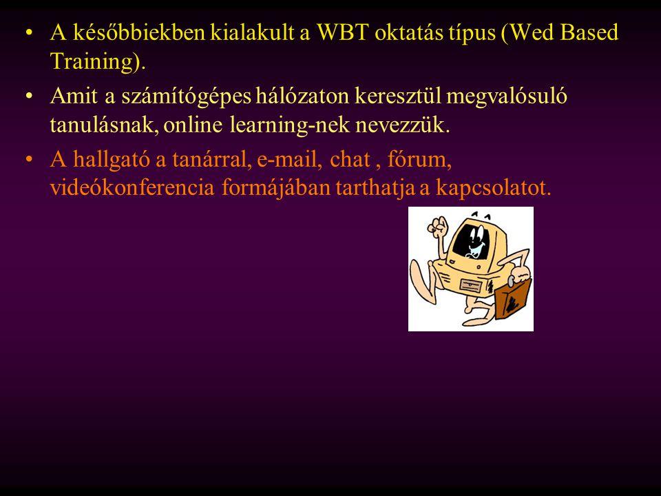 A későbbiekben kialakult a WBT oktatás típus (Wed Based Training).
