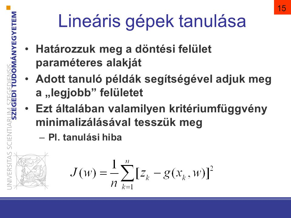 Két osztály, lineárisan elválasztható eset