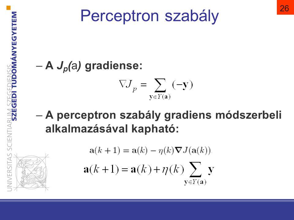 27 Perceptron szabály. Az összes rosszul. osztályozott minta. a(k) szerint.