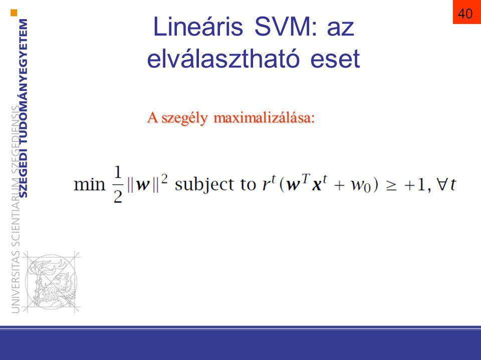 Lineáris SVM: az elválasztható eset