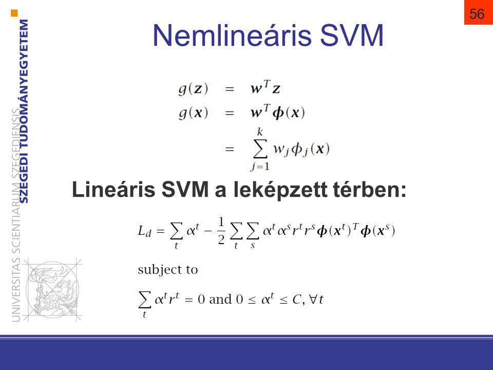 57 A kernel trükk. A belső szorzatokat egy magfüggvény (kernel) segítségével számoljuk! A kernel használatának előnyei.